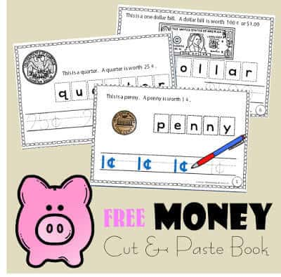 Free Money Worksheets you can complete and make into a Cut and Paste Book