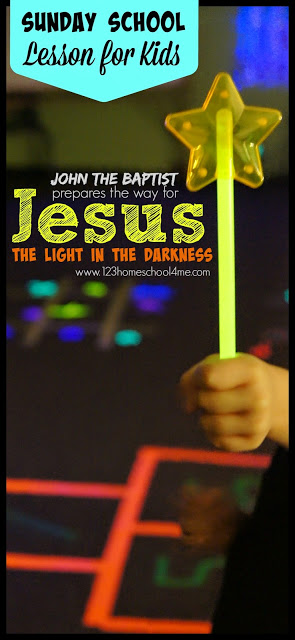 Jesus is the Light of the Darkness Sunday School lesson for K-4th grade. This is such a fun Bible lesson with glow in the dark games, John the Baptist name craft, and more. REALLY ENGAGING!