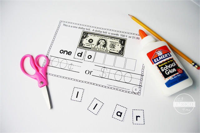 Learning About Money - printable cut and paste book where kids will learn about us coins and bills as well as their value