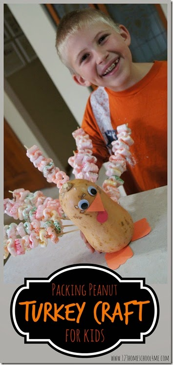 Packing Peanut Turkey Craft for Kids - This is such a cute craft for kids to make in November and a great decoration for Thanksgiving table! I love the creative way it reuses packing peanuts. Great kids activities for preschool, kindergarten, 1st grade, 2nd grade, 3rd grade kids. LOVE THIS! #turkeycrafts #thanskgiving #craftsforkids