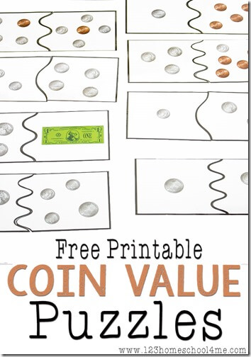 FREE Puzzle Money Games - This is such a fun, free printable math game to help kids in 1st grade, 2nd grade, and 3rd grade practice adding coins. (math games for kids)