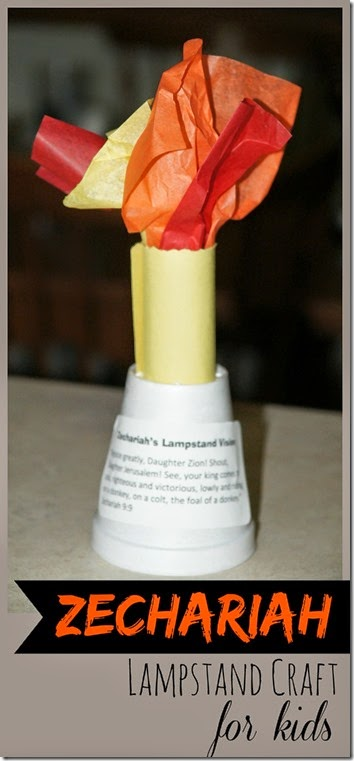 Zechariah Lampstand Craft for Kids - This is such a fun Bible Crafts for Old Testament Sunday school lessons. This is a great activity for preschool, kindergarten, 1st grade, 2nd grade, 3rd grade, and 4th grade kids.