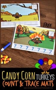 super cute counting activity using candy corn fall candy and free printable turkey counting mats