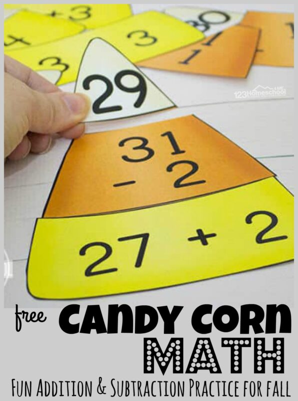 Make practicing math fun during October with this super cute, fun, and hands-on Candy Corn Math. This free printable candy corn subtraction and addition puzzles are a great way to make math fun for first grade and 2nd grade students.