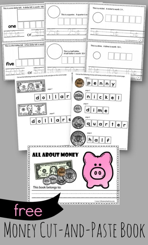 FREE Cut and Paste Money Worksheets that can make a book to help kindergarten, first grade, and 2nd grade students learn about learn about money, us coins and bills while having fun #moneyforkids #cutandpaste #math