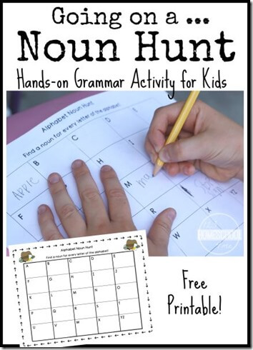 Going on a Noun Hunt - This is such a fun grammar activities elementary for nouns first grade, 2nd grade, 3rd grade kids to practice nouns.#nouns #partsofspeach #languagearts