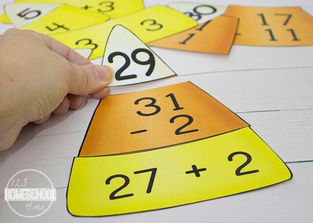 fall math game for first grade, 2nd grade, 3rd grade