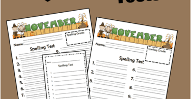 FREE Printable November Spelling Tests