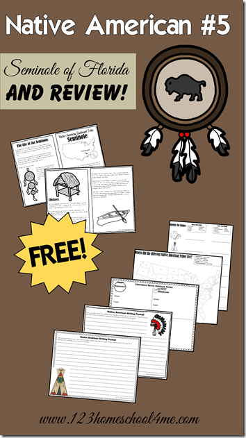Native Americans - Seminole tribe of FLorida and unit review with lots of review worksheets and native american creative writing prompts.