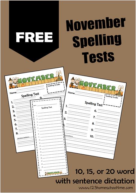 FREE Printable November Spelling Tests | 123 Homeschool 4 Me
