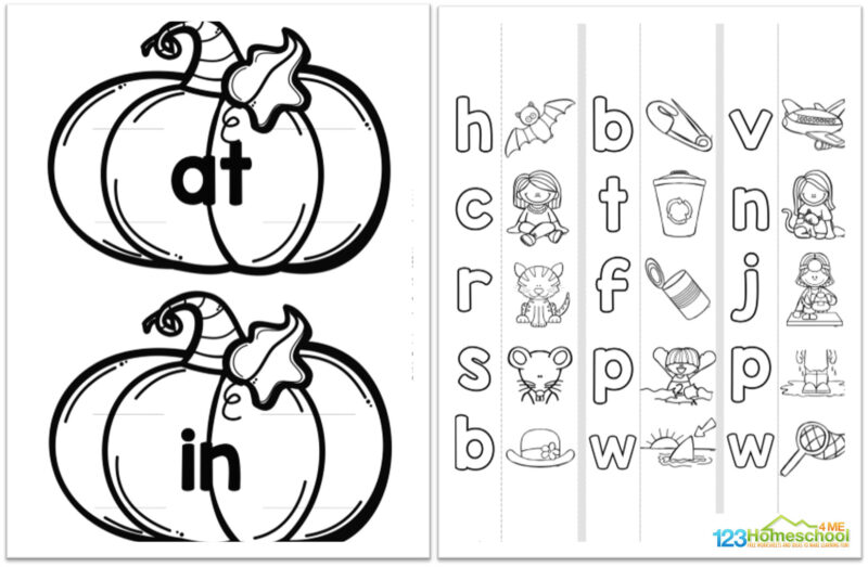 super cute, free pumpkin printables to practice word families and learn to read with kindergarten and 1st grade students