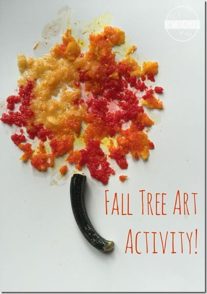 "Fall Tree Art Activity - What a fun idea! Use the inside ""guts"" of pumpkins you are carving to make this pumpkin paint recipe for some beautiful fall art for toddler, preschool, kindergarten, and 1st grade kids. (kids activities)"