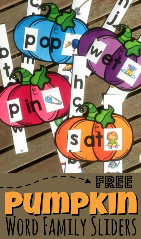 Make practicing reading fun with these super cute, free printable pumpkin Word Family Sliders! Learning to read rhyming words is the first step towards learning to read. This pumpkin printable is perfect for preschool, pre k, kindergarten, and first grade students to make learning fun. Each word family printable has not only the word, but a picture clue too!