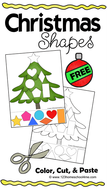 FREE Christmas Cut and Paste Worksheets - these free printable Christmas worksheets are for toddler, preschool, and kindergarten to practice shapes, strengthen fine motor skills, and scissor practice. #chrsitmas #christmasprintables #christmasworksheets