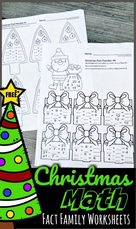 Kids will love practicing addition and subtraction during December with super cute, free printableChristmas fact families. Simply download the pdf file with these Christmas Math Worksheets to help first grade, 2nd grade, and 3rd grade students sneak in some fun Christmas Math to make learning fun during the holidays.