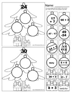 math christmas worksheets