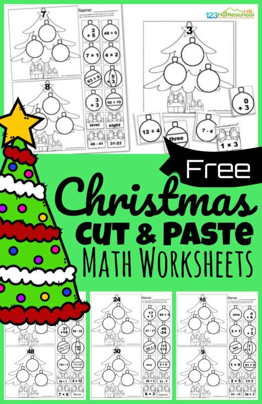 Free CUT And PASTE Christmas Math Worksheets