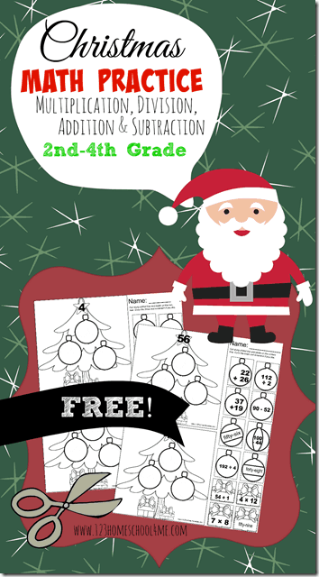 FREE Christmas Math Worksheets - Free cut and paste math printables to help 2nd grade, 3rd grade, 4th, 5th, and 6th grade students practice addition, subtraction, multiplication and division. Great for Christmas break, after school, and homeschool kids. #christmasmath #christmasworksheets #christmaslearning