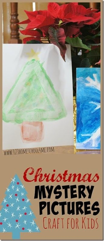 Kids of all ages will love this Christmas art project for kids! Kids will use watercolor to reveal the Christmas mystery picture while having fun making a fun Christmas craft. This tape resist art is such a fun, easy Christmas craft for toddlers, preschoolers, and kindergarteners too!