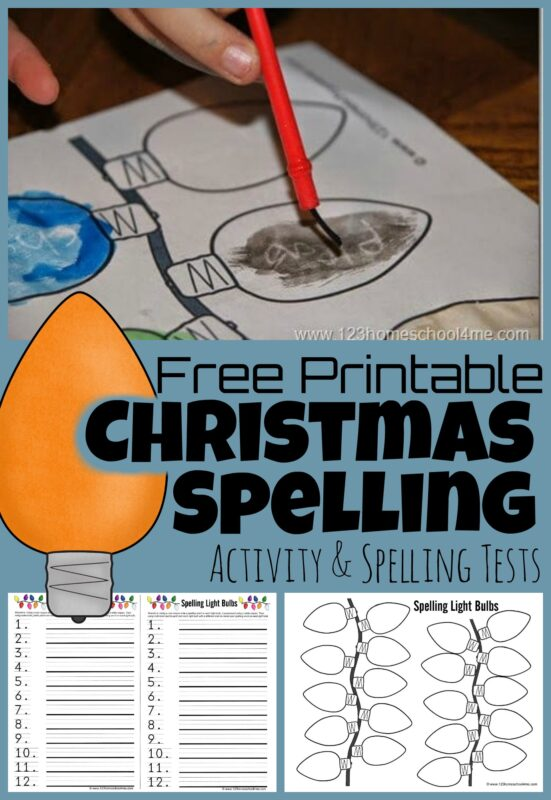 Get ready to make spelling outrageously fun this December with these funChristmas spelling activities! Download pdf file with free printable Christmas spelling test and Christmas lights template and you are ready for a really fun way to practice Christmas spelling words. Kids from kindergarten, first grade, 2nd grade, 3rd grade, 4th grade, 5th grade, and 6th grade will love this educational activity around the holiday season!
