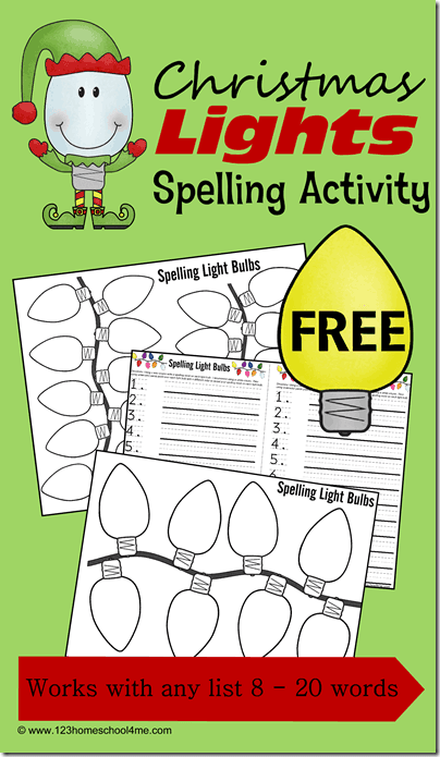 Christmas Spelling Activity - Kids will love this fun, hands on spelling activity for Decemer. Kids can practice any words with the free printable Chrsitmas Speling Words activity. Great for K-6th grade for any spelling list up to 20 words. #christmas #christmasprintables #spellingactivity