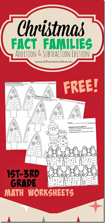 Christmas Fact Families - Addition and Subtraction Math Worksheets
