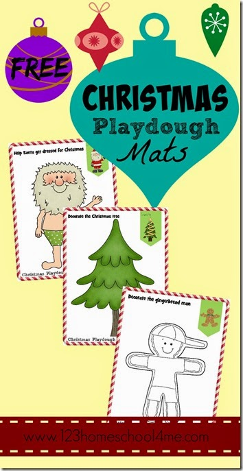 FREE Christmas Playdough Mats - These free printable playdough worksheets are super cute and perfect for toddlers, preschool, and kindergarten kids to use to create and play. Fun Christmas Activity for kids!