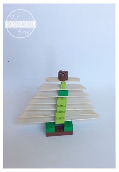 Craft Stick and Lego Tree