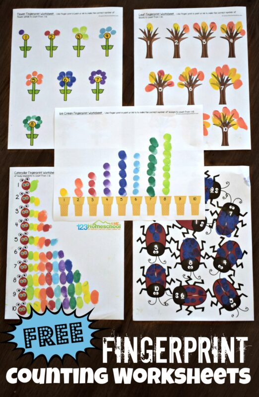 FREE Fingerprint Counting Worksheets- this is such a fun craft for toddler, preschool, prek, and kindergarten age kids to count to 10 while making a fun fingerprint craft. #craftsforkids #preschool #counting