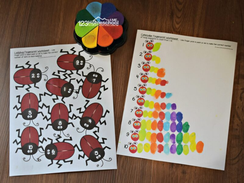 Finger Painting Worksheets to make cute craft for kids