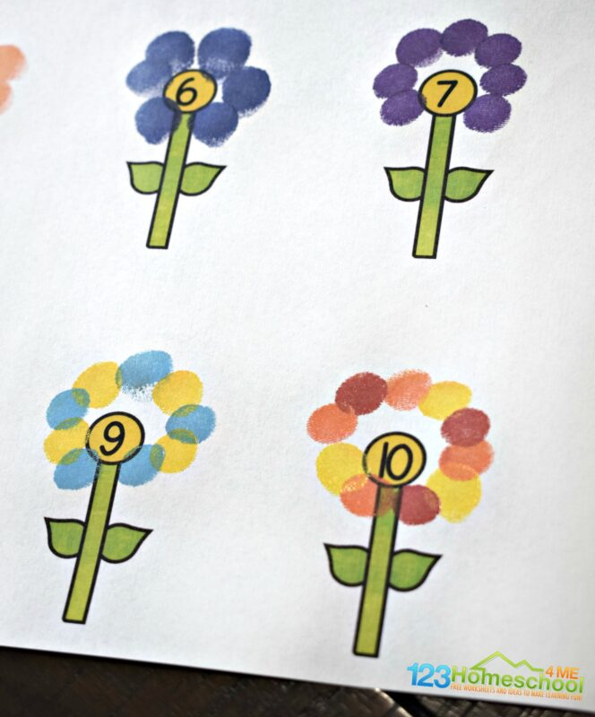 Fingerprint activity to make flower craft with kids