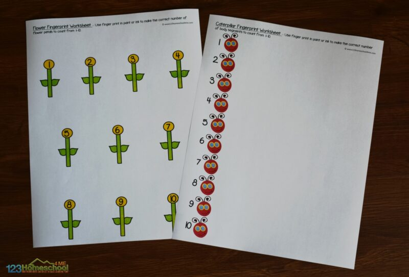 Free printable fingerprint worksheet perfect for toddler, preschool, and kindergarten age kid
