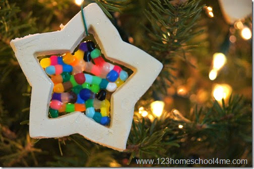 Perler bead filled star Christmas ornament craft for kids