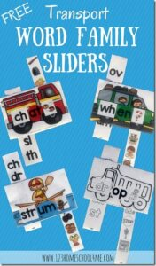 Blends Transportation word family sliders