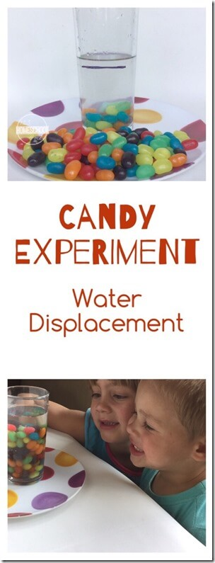 When you have too much candy in the house it is time to get creative! We decided to try a candy science activity. This easy Water Displacement Experiment is a fun way to teach simple science principle to toddler, preschool, pre k, kindergarten, and first grade students with jelly beans.