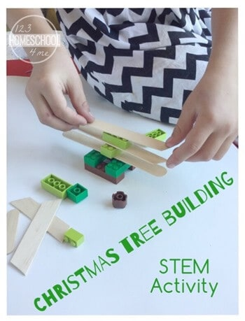 Make learning fun this December with this Christmas STEM Activities for preschool, pre-k, kindergarten, first grade, and 2nd grade students. Children will use Lego and craft sticks to design and build their own Christmas tree project in this fun, educational Christmas activity for December! This is perfect for Christmas math and homeschooling during the holidays!