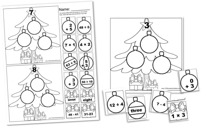Christmas Cut and Paste Math Worksheets | 123 Homeschool 4 Me