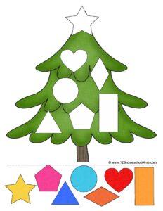 free christmas shapes worksheet