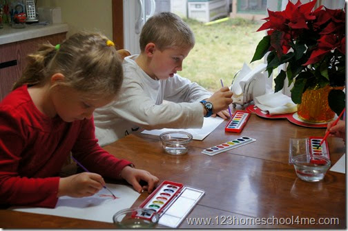 elementary kids christmas painting kids activities