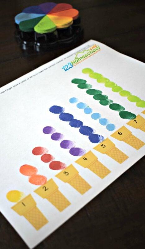 Ice Cream Fingerprint counting activity