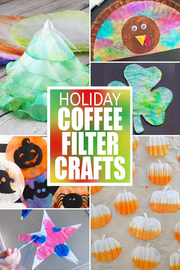 holiday coffee filter craft including coffee filter turkey, christmas coffee filter crafts
