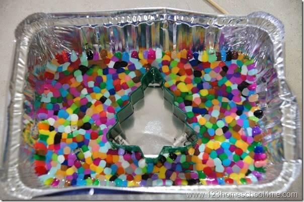 metled plastic perler bead craft for kids