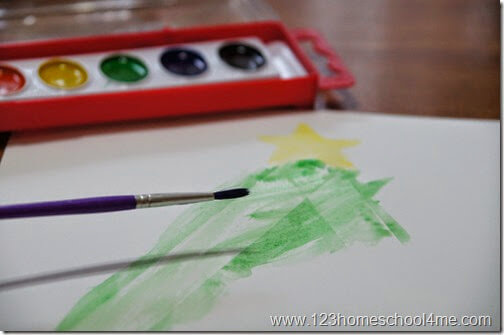 paint with watercolor paint to reveal a christmas mystery picture