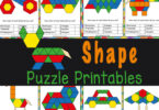 FUN, hands-on shape activity for kids with pattern block printables! 20+ shape puzzle template cards to make with shape blocks.