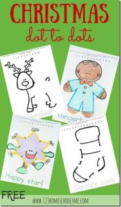 FREE Christmas Dot-to-dot Coloring Pages - prek and kindergarten age kids will have fun practicing counting to 10 and 15 with these holiday math worksheets Christmas connect the dots make learning fun in december for preschoolers and kindergartners #dottodot #christmas #prek