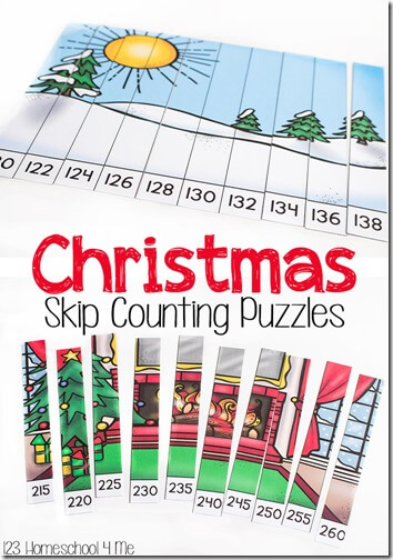 Sneak in some fun Christmas Math with these super cute, free printable Christmas Skip Counting Puzzles. These engaging, hands-on math activity for December is way better than Christmas skip counting worksheets.  This handy resource for first grade and 2nd grade students helps them practice skip counting by 2s and skip counting by 5s in 100s and 200s to continue developing skip counting skills.