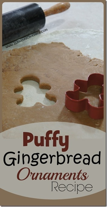 Puffy Gingerbread Ornaments Recipe - This play recipe works as a playdough recipe or classic Christmas craft for kids for toddlers, preschool, kindergarten, first grade, 2nd grade. Makes a great keepsake or diy, handmade ornament; kid made Christmas present or gingerbread decorations #gingerbreadman #christmasornaments #christmas