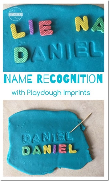 Name Recognition with Playdough Imprints - this is such a fun way for kids to practice making their name with a fun, hands-on activity for toddler, preschool, and kindergarten age kids #namerecognition #preschool #kindergarten