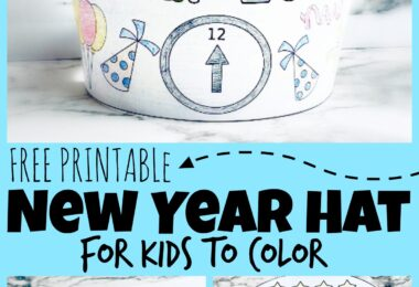 Grab this super cute, free Printable New Years Hat is the perfect way to start! This is a fun new years printables for kids to color and wear as they celebrate the new year! Use this in your kids new years party or as a fun New Years Eve Activity. SImply download the pdf file and get to making your crafts for new years!