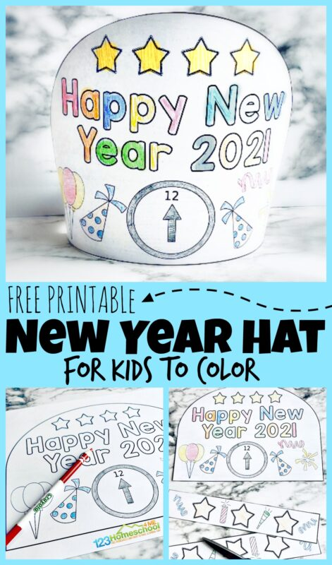 Grab this super cute, free Printable New Years Hat is the perfect way to start! This is a fun new years printablesfor kids to color and wear as they celebrate the new year! Use this in yourkids new years partyor as a fun New Years Eve Activity. SImply download the pdf file and get to making yourcrafts for new years!